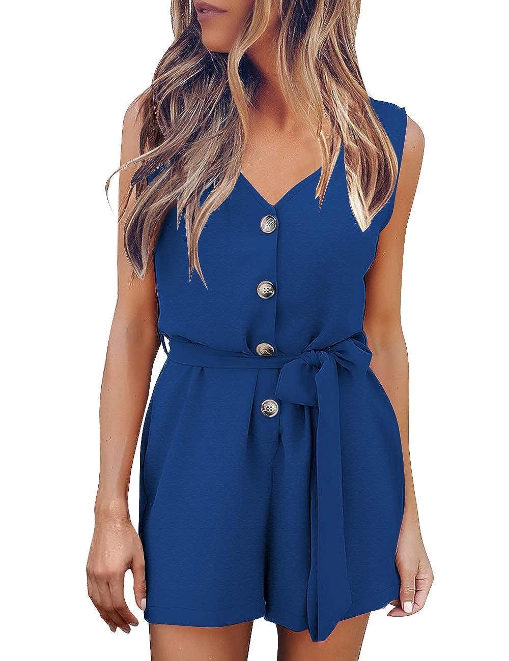 GRAPENT Women/'s V Neck Sleeveless Button Front Self Tie Romper Jumpsuit