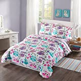 MarCielo 3 Piece Kids Bedspread Quilts Set Throw Blanket for Teens Boys Girls Bed Printed Bedding Coverlet, Full Size, owl A32 (Full)