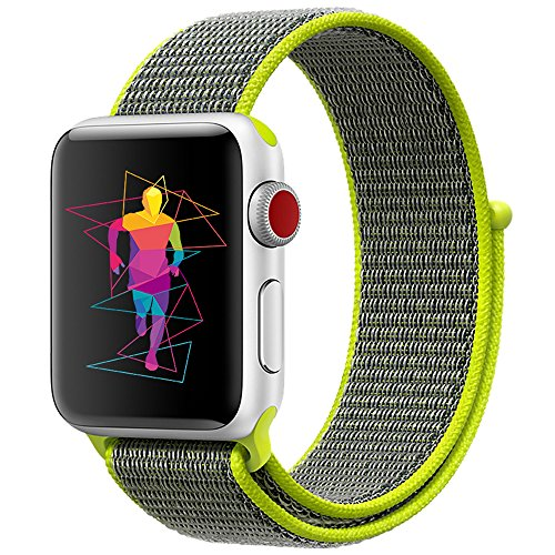 INTENY Sport Band Compatible with Apple Watch 44mm, Soft Lightweight Breathable Nylon Sport Loop, Strap Replacement for iWatch Series 4 (Flash, 44mm)
