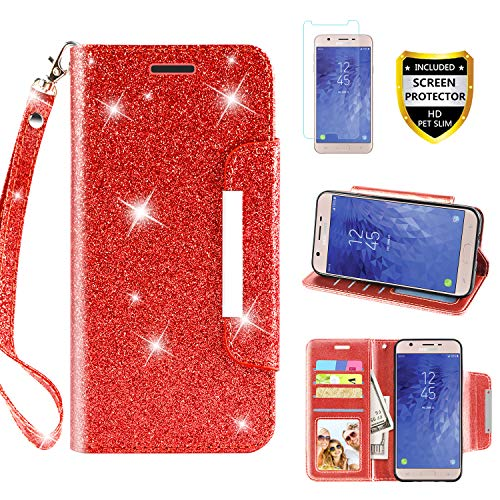 Samsung Galaxy J7 Refine Case, Galaxy J7 2018/J7 Star/J7 Aero/J7 V 2rd Gen/J7 Top/J7 Aura/J7 Crown/J7 Eon with Screen Protector Wallet Phone Case Flip with Kickstand Credit Card Holder, -
