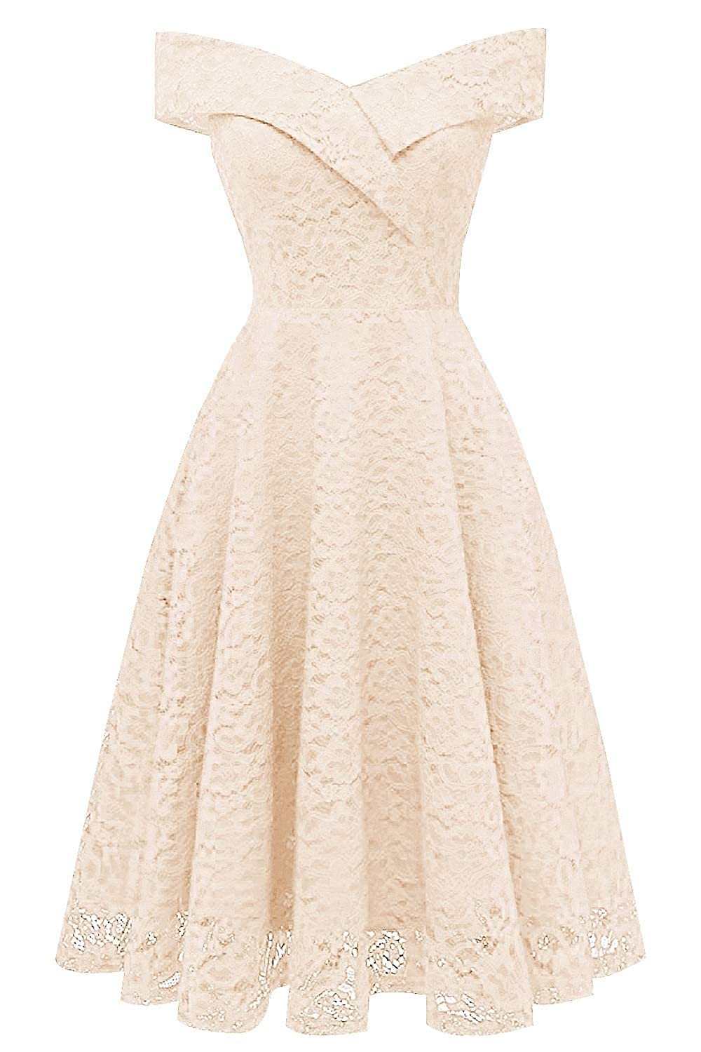 Champagne MorySong Women's Lace Off The Shoulder Knee Length Cocktail Homecoming Dress