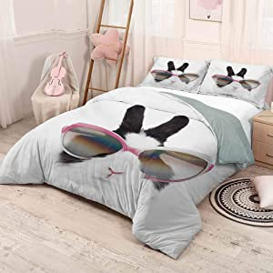 HELLOLEON Funny Extra Large Quilt Cover Little Rabbit in Sunglasses Beauty Bunny Fluffy Creature Pet Portrait Fashion Image Can be Used as a Quilt Cover-Lightweight (Queen) Black White