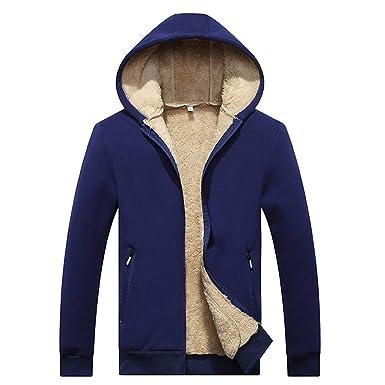 Homme Hiver Chaud Plus Velours épais Doublé Sweats à Capuche Cotton Manteaux  Doux Blousons Sweat- f9b82e7e88ac