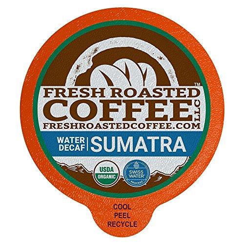 (Fresh Roasted Coffee LLC, Swiss Water Decaf Organic Sumatra Coffee Pods, Medium Roast, Fair Trade, USDA Organic, Capsules Compatible with 1.0 & 2.0 Single-Serve Brewers, 36 Count )