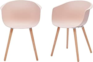 """Amazon Brand - Rivet Alva Modern Curved-Back Plastic Dining Chair, Set of 2, 23.2""""W, Nude Pink"""