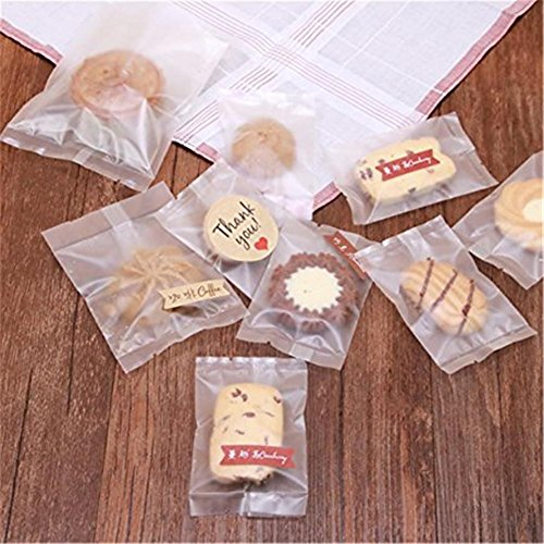 AxiEr 100PCS Translucent Frosted Biscuit Bag Frosted Translucent Thick Self Adhesive Cookie Clear Plastic Poly Bags Bakery Candy Biscuit OPP Plastic Bags (Opp Clear Plastic Bag)