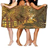 PengMin Autumn Country Lanscape Premium 100% Polyester Large Bath Towel, Pool And Bath Towel (80'' X 130'') Natural, Soft, Quick Drying