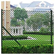 """K&A Company Fence Panel, Chain Fence 59.1"""" x 590.6"""" Green with Posts & All Hardware"""