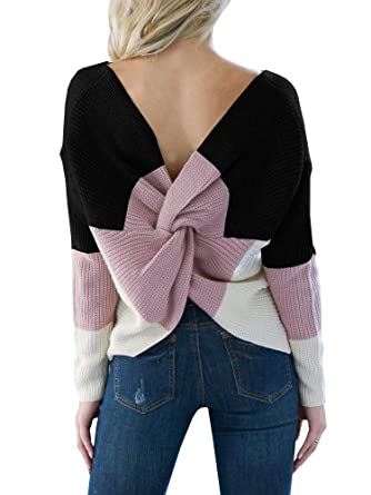 dfce62a9e4 Women Back Knot Sweaters V Neck Sexy Cute Long Sleeve Knitted Pullover  Jumpers