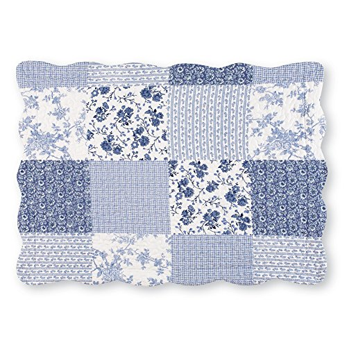 Collections Willow Floral Check Patchwork Bed Pillow Sham with Scalloped Edges, Blue, (Check Standard Sham)