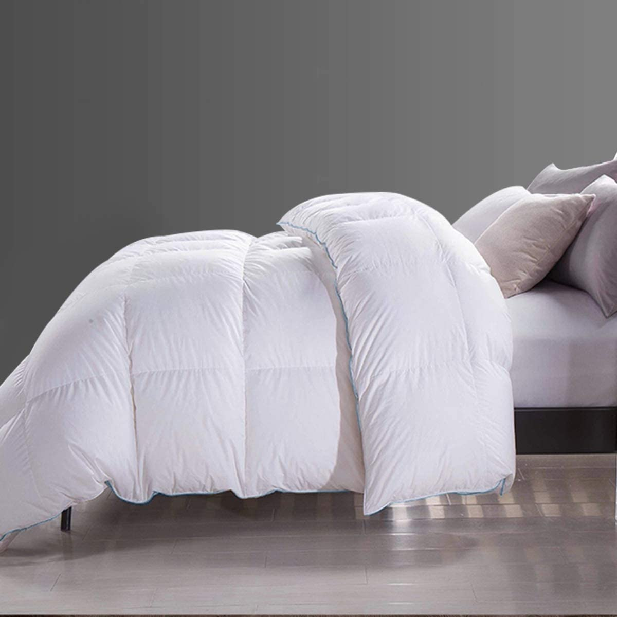 Goose Down Quilt Insert, White Baffle Box Duvet Quilt for Winter, 800+ Fill Power 55oz Down Filled Comforter with Corner Tab (Full/Queen Size 90x90 Inch)