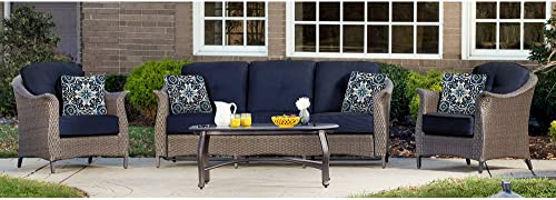 Hanover GRAMERCY4PC-NVY Outdoor Furniture Gramercy 4-Piece Wicker