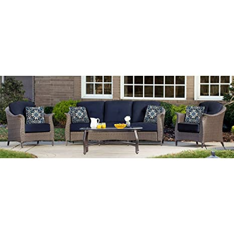 Image Unavailable - Amazon.com: Hanover GRAMERCY4PC-NVY Outdoor Furniture Gramercy 4