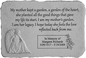 """Kay Berry My Mother Kept a Garden. Rectangle with Angel Personalized Memorial Stone - 15.25"""" x 10.5"""" - Fused Glass Stone"""