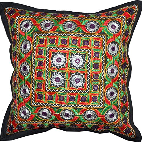 1 Cushion Pillow Cover Mughal Mirror Embroidery India Ethnic Decorative - Throw Mughal