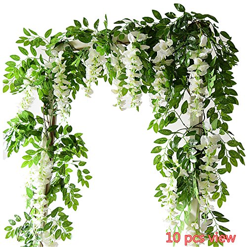 Felice Arts 4 Pcs Artificial Flowers 6.6ft/piece Silk Wisteria Ivy Vine Green Leaf Hanging Vine Garland for Wedding Party Home Garden Wall Decoration, Cream - Leaf Silk Flower