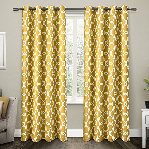 Exclusive Home Gates Sateen Blackout Thermal Window Curtain Panel Pair with Grommet Top 52x84 Sundress Yellow 2 Piece