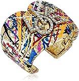 Betsey Johnson Harlem Gold and Crystal Graffiti Cuff Bracelet