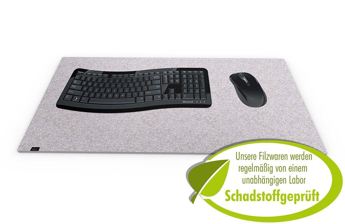luxflair –  tappetino per tastiera e mouse per scrivania (feltro, 40 x 80 cm Circa) originale, particolarmente Morbido E confortevole. La alternativa Perfetta per le tappetini di carta O di Pelle. 40 x 80 cm grigio LX1906