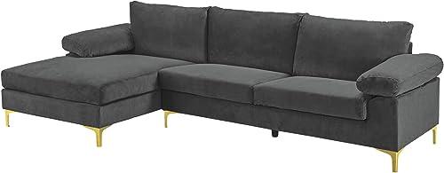 Casa Andrea Milano llc Modern Large Velvet Fabric Sectional Sofa Couch