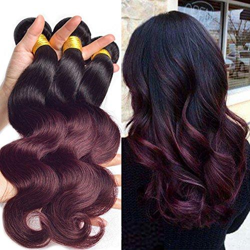 Black Rose Dark Root Ombre Human Hair Weaves Black to Wine Red Body Wave Brazilian Virgin 100g Hair 3 Full Bundles Two Tone 1b/99J Burgundy Hair Extension (Pack of 3, 18 18 18) (Tone Wine Two)