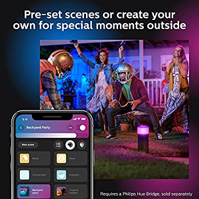 Philips Hue White & Color Ambiance Outdoor Smart Pathway light Base kit, 1 Hue White & Color Smart Pathway light, power supply and mounting kit, Works with Alexa, Apple HomeKit and Google Assistant