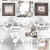 "Bo Bunny BBU20901838 Winter Wishes 12"" X 12"" Foil Vellum Scrapbooking Paper"