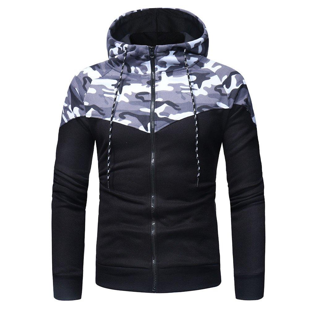 Long Sleeve Winter Sweatshirt Jacket Outwear Yaseking Mens Camouflage Print Zipper Hoodie