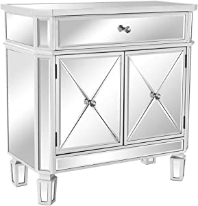 "VINGLI Mirrored Cabinet Mirrored Dresser Accent Chest Large Nightstand with 1 Drawer and Two Doors, 27.5""W x 13.4""D x 32.5""H, Mirror"