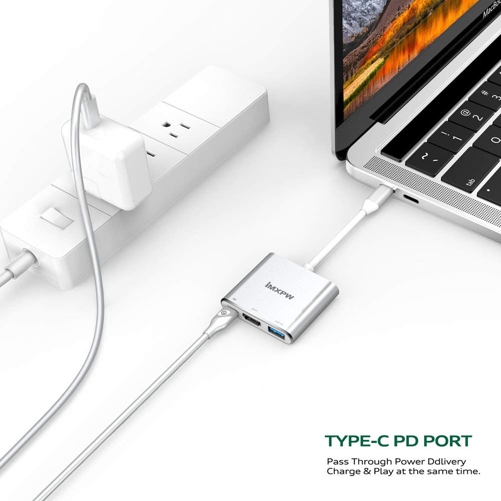 Silver PD Charging Port Compatible MBP w//Thunderbolt 3 Port iMXPW Trevino USB 3.1 Type-C to HDMI Multiport Adapter HDMI 4K Converter w//USB 3.0 Port