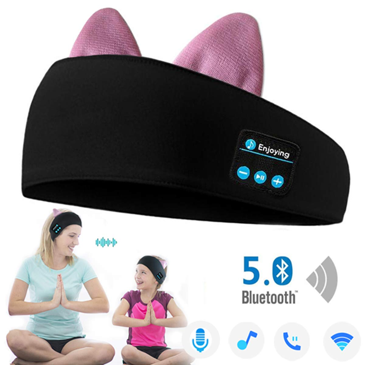 Bluetooth 5.0 Cat Headband Headphones, Wireless Sports Headband Headphones with Cat Ears Perfect for Workout,Jogging,Yoga,Insomnia, Side Sleepers, Travel, Meditation