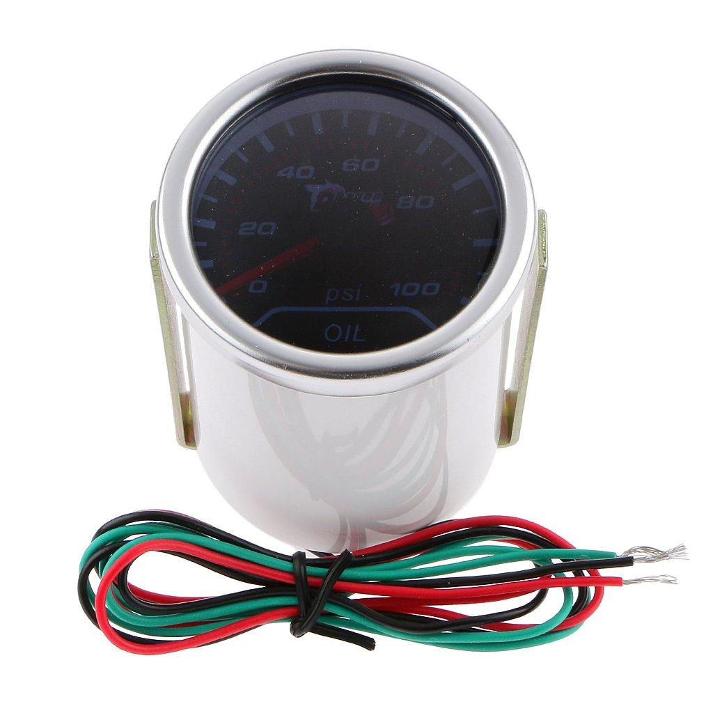 MagiDeal Boost Gauge/Volt/Tachometer/Water/Oil Temp/Pressure/ Led Digital Car Gauge - Oil Pressure Gauge