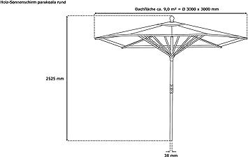 paramondo Parasol parakoala sombrilla de Madera Color Gris Redonda 3m