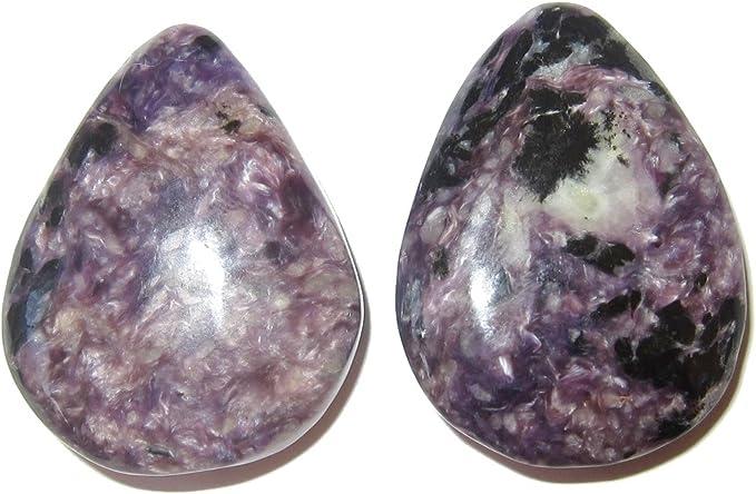Natural Russian Charoite Pear Shape Loose Cabochon Gemstone Purple Charoite Healing Gemstone For Jewelry Making 60x23x5 mm 64 Cts #MU-403