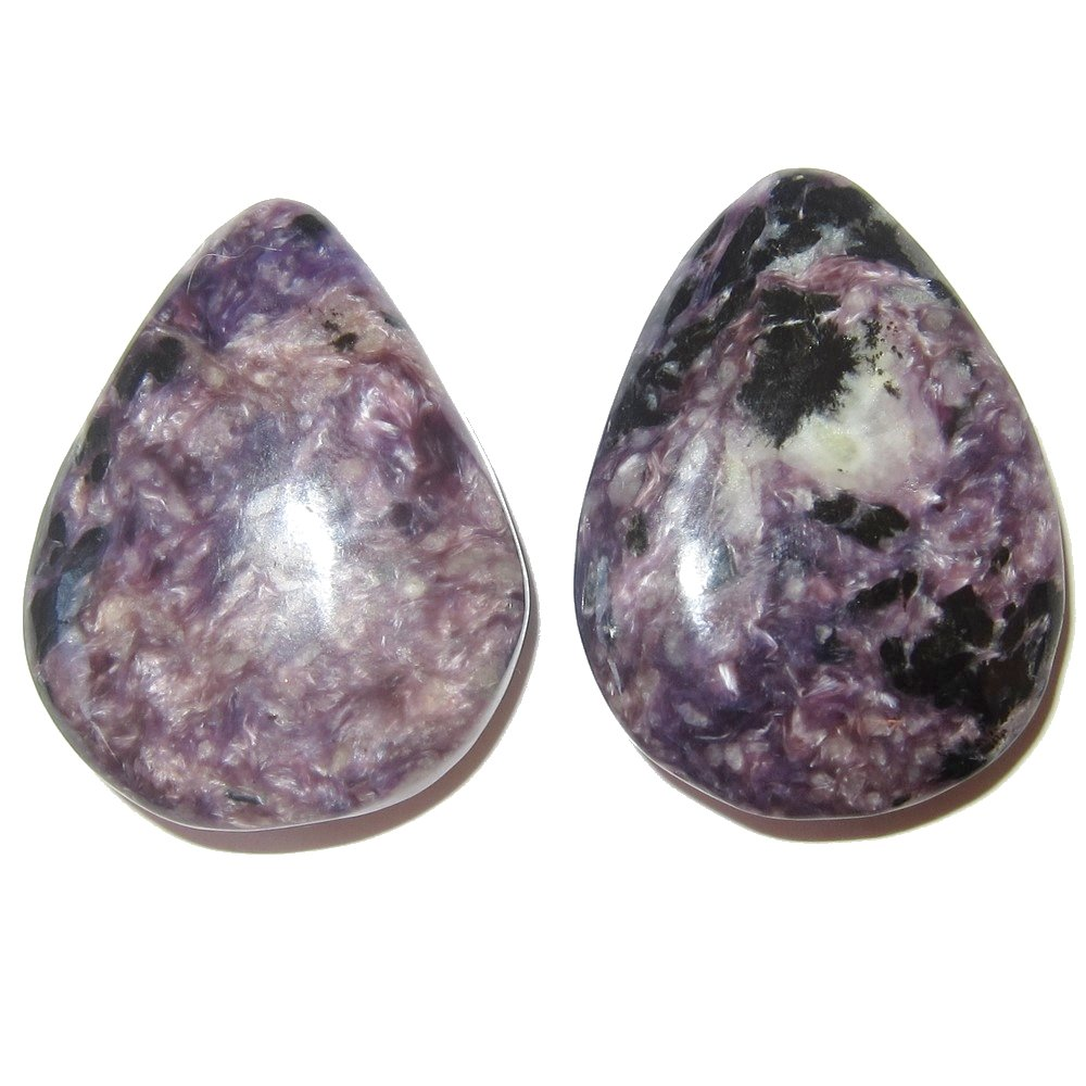 Satin Crystals Charoite Cabochon 1.4'' Collectible Drop Stone Pair of Purple Black Spirit Guide Guardian Angel Energy Gem Cabs C12