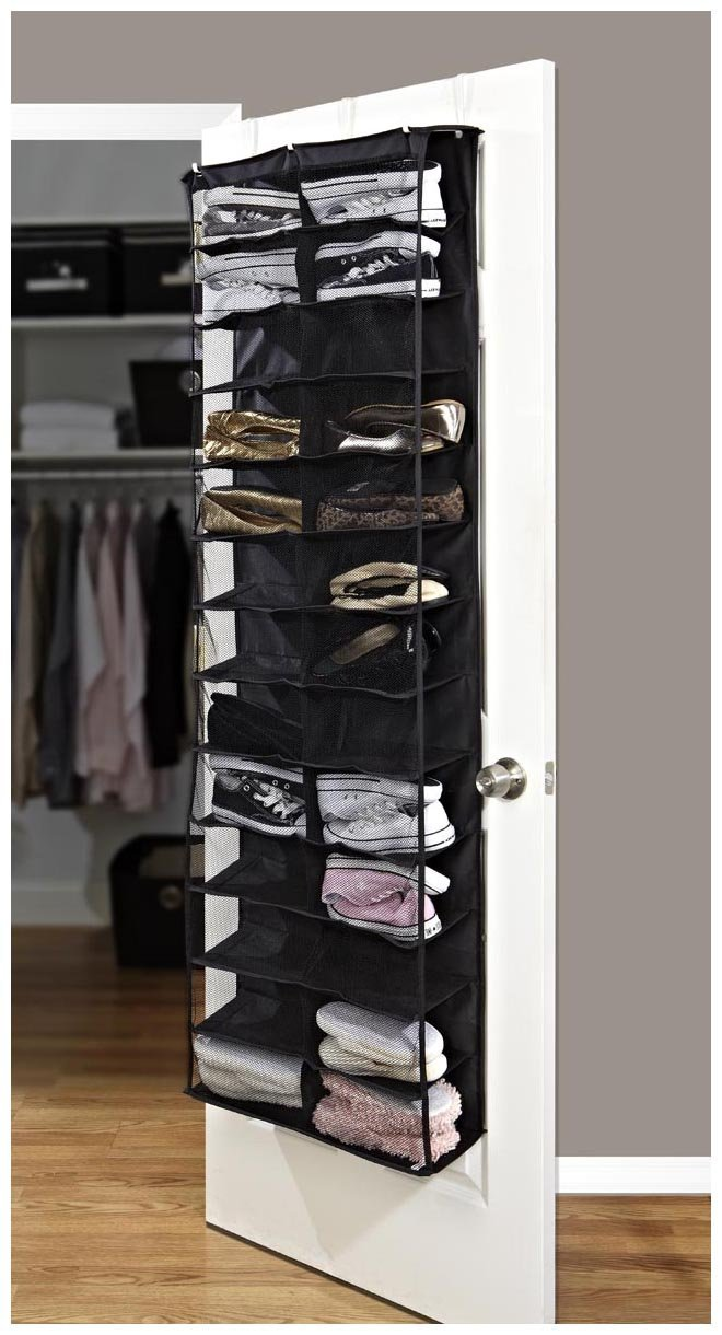 Amazon.com: Simplify 26 Pocket Over The Door Shoe Organizer Black: Home U0026  Kitchen