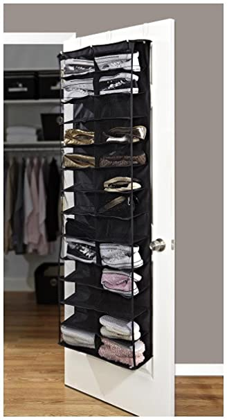 Simplify 26 Pocket Over The Door Shoe Organizer Black