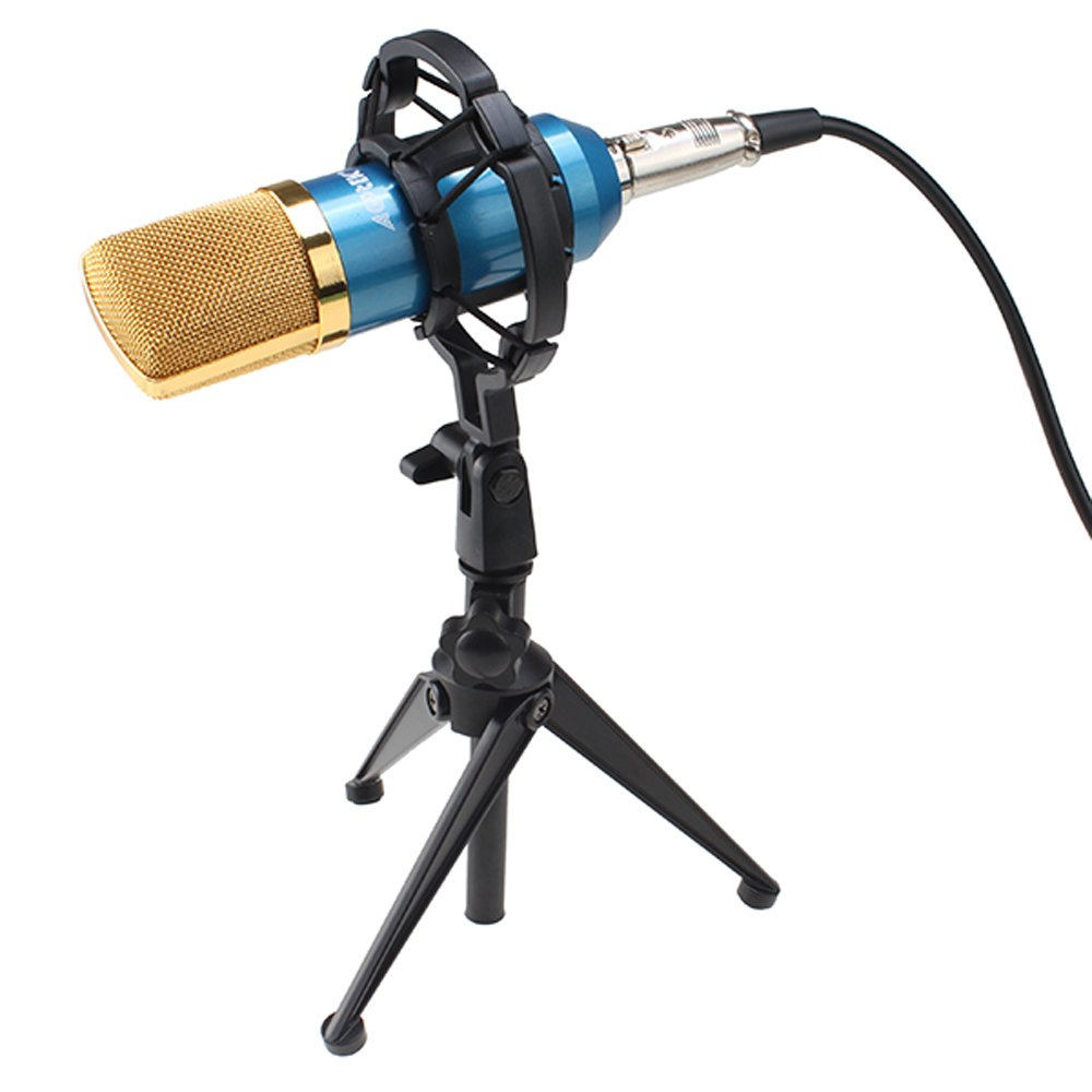 AGPtek Blue 1 Vocal Sound Studio Recording Cardioid Condenser Microphone Mic Dynamic +Shock Mount Package (This item should function with indenpendent sound card)