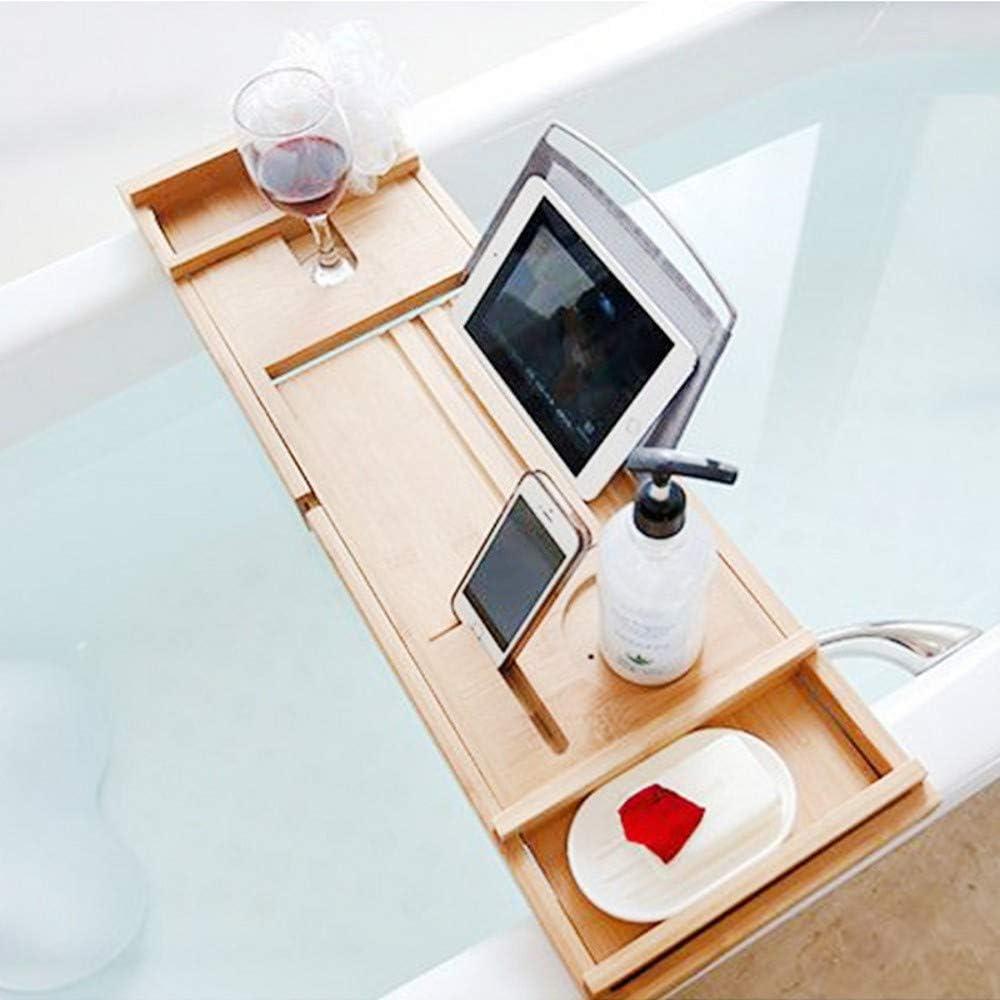 Extending Sides Mug//Wineglass//Smartphone Holder,Adjustable Bathroom Bathtub Organizer RomanticDesign Luxury Bamboo Bathtub Caddy Tray Bath Tray for Tub 29.5 to 42.9