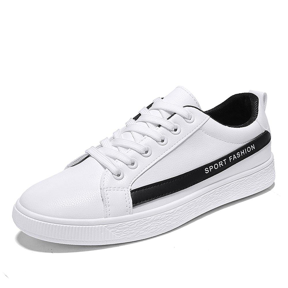 MUOU Schuhe Herren Freizeitschuhe Bequeme Runde Toe Mauml;nner Lace-Up Flache Sneaker Mode Atmungsaktive Schuhe  40 EU|Schwarz