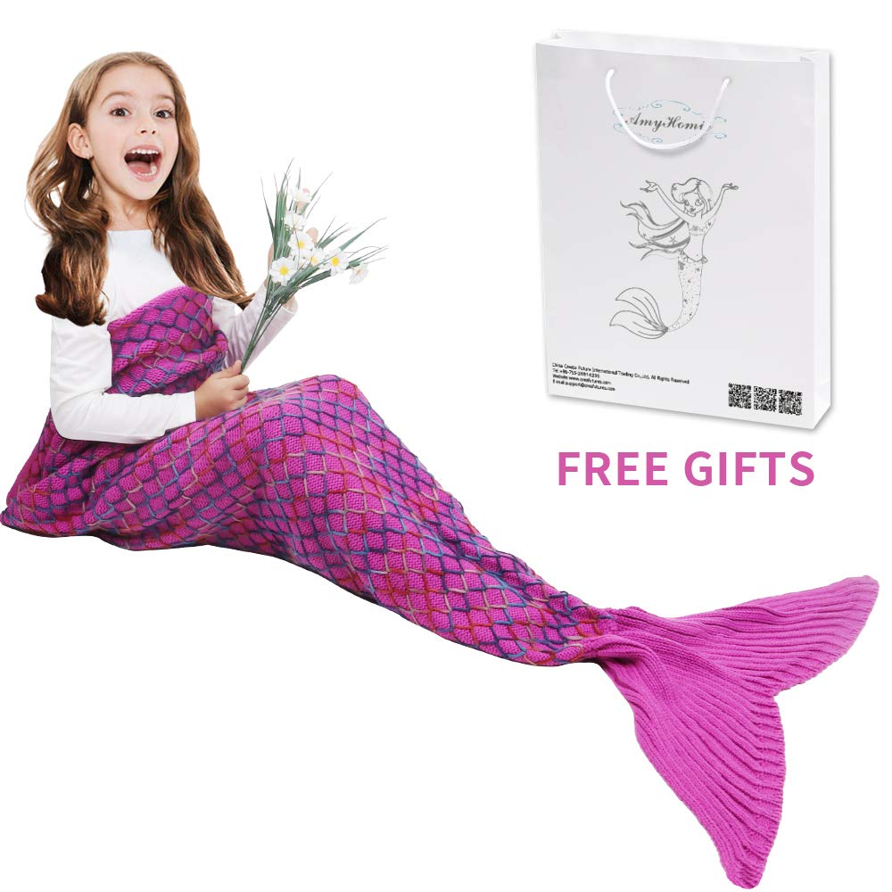 AmyHomie Mermaid Tail Blanket, Mermaid Blanket Adult Mermaid Tail Blanket, Crotchet Kids Mermaid Tail Blanket for Girls (Kids, Rainbow-Pink)