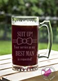 Suit Up Bow Tie BEST MAN Service Requested 24 oz Etched Glass Stein Beer Mug with Handle Love Forever Birds Always Relationships Wedding Propose Married Groom Will You Be My Groomsmen Ask