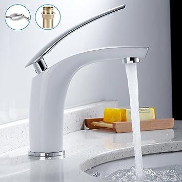 Hotbestus Modern Creative Design White Bathroom Sink Faucet One