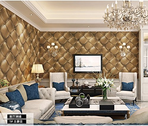 Haokhome 3231 vintage gold 3d leather textured wallpaper for 3d wallpaper for home uae