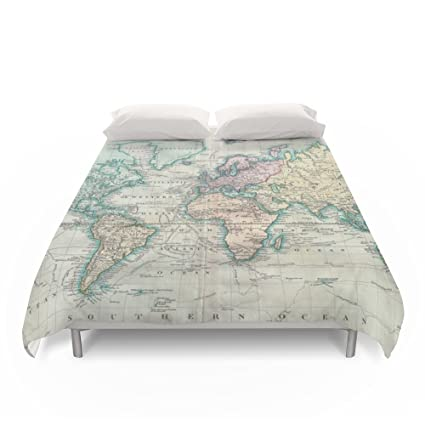 society6 vintage map of the world 1801 duvet covers queen 88