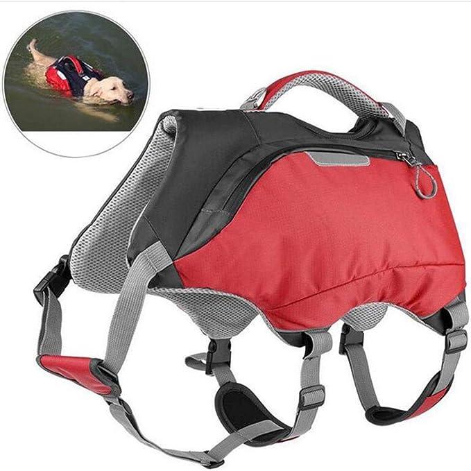 AZLLY Bolsa de sillín Mascota Impermeable Perro Mochila Reflectante Ajustable del arnés del Perro de la Chaqueta Vida para el Recorrido de formación de excursión Que acampa,M: Amazon.es: Hogar