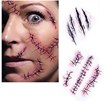 Halloween Tatoos Zombie Scars Body Makeup Scars Stickers Bloody Face 50 PCS Lot