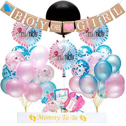 Gender Reveal Party Supplies and Baby Shower Boy or Girl Kit (64 Pieces) - Including 36'' Reveal Balloon, Confetti Balloons, Banner, Photo Props and More - All You Need to Celebrate Your Little One by Baby Nest Designs