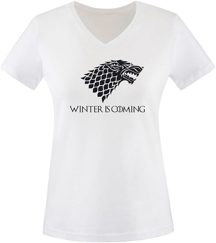 EZYshirt® Game of Thrones | Winter is coming | Schattenwolf Damen V-Neck T- Shirt: Amazon.de: Bekleidung