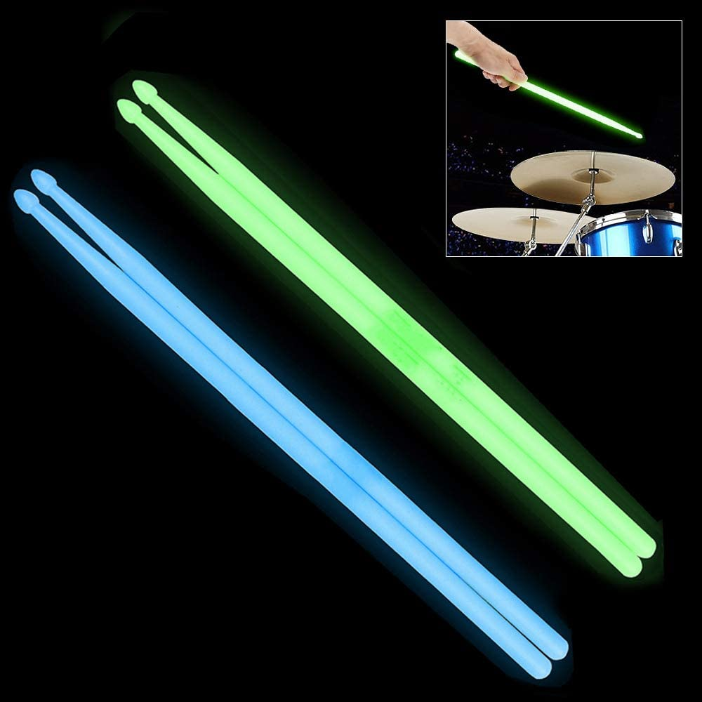 Bright Light Up Drum Sticks Luminous Light Up Drumsticks Green Bright Luminous Glow in The Dark Drumsticks YiPaiSi 5A Luminous Light Up Drum Sticks